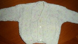 handmade baby v neck cable cardigan 0-6 months