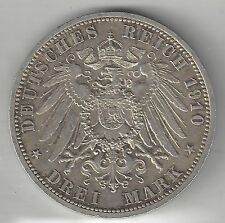 SAXE-WEIMAR-EISENACH,  GERMAN STATE, 1910-A,  3 MARK,  SILVER,  KM#277, CH.-X.F.