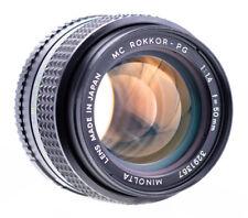 Minolta mc rokkor-pg 50 mm f 1.4 top examinado/probado SN 3291367