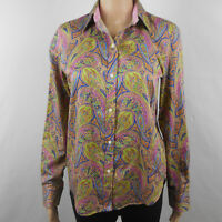Chaps Classics Womens Paisley Cotton Buttoned Shirt Blouse Top Blue Size S Small