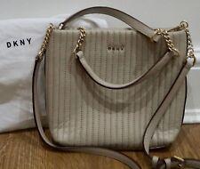 DKNY Cream Beige Quilted Leather Gold Tone Branded Detachable Shoulder Strap Bag