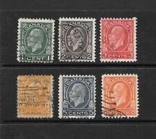 1932 King George V SG319 to SG324 set of 6 stamps Used CANADA