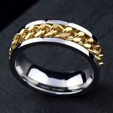 20 X Spinner gold chains Stainless steel Ring Jewelry lots wholesale