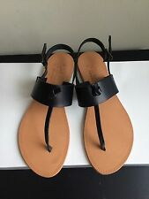 NIB $135 Joie Bastia Leather Thong Sandals Black Size 7