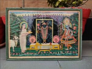 "Vintage Hindu God Krishna Shrinath Ji  Sudhama Lithograph Print Framed 18 x 12"""
