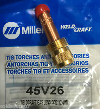 """Distributore 45V26 lente 3/32"""" per 2,4 mm WELDCRAFT MILLER Torce 17/18/26"""
