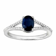 1 Ct Natural Kanchanaburi Sapphire & 1/8 Ct Diamond Ring in 10k White Gold