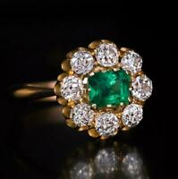 14K Yellow Gold Finish 2ct Round Cut Emerald & Diamond Engagement Cluster Ring