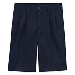 IZOD Boys Natural Stretch SHORTS Szs 12-18 (Flat or Pleated) (Khaki or Navy) NWT