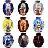 3D Dragon Ball Z Vegeta Goku Super Saiyan sudaderas con Capucha Hombres Mujer