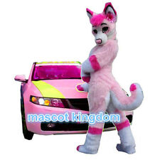 Pink Husky Dog Mascot Costume Cosplay Party Wolf Fox Character Fancy Dress Adult