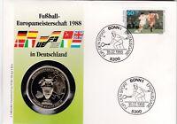 Numisbrief Fußball-Europameisterschaft 1988 60 +30 Pfg Briefmarke Stempel Bonn