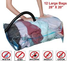 12 PACK Space Saver Large Vacuum Storage Bags ZIPLOCK Compressed Organizer Bags