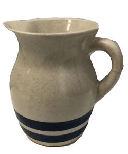 ROSEVILLE PITCHER Double Blue Stripe CERAMIC MUG WITH A CRACK IN HANDLE