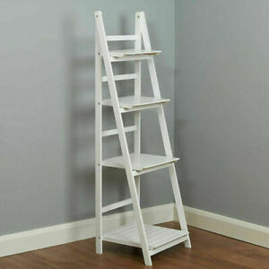 Wooden 4 Tier Ladder Shelf Unit Bookcase Living Room Storage Display White