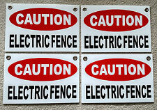 """4 CAUTION ELECTRIC FENCE Plastic Coroplast Signs 8""""X12"""" w/Grommets FREE SHIPPING"""