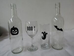 set of 12 Halloween Vinyl Decal Stickers For Wine Glass Mug bottle Crafts Party