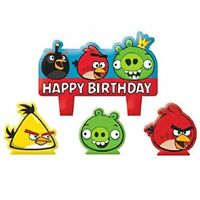 ANGRY BIRDS MINI CANDLE SET (4pc) ~Birthday Party Supplies Decorations Cup Cake
