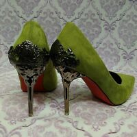 Metal Heel Exotic Unique Heels Stilettos US 8.5 EUR 39 Vegan Green Faux Suede