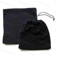 Mens Ladies Boys Black Fleece Neck Warmer Snood Tube 3 In 1 Hat Combo Adults