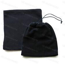 Mens Ladies Boys Black Fleece Neck Warmer Snood Tube 3 In 1 Hat Combo Adults