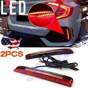 For Honda Civic 2017-21 Sequential Bumper Reflector LED Brake Light Fog Lamp 2x