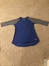 Girls YXL Loose Under Armour Blue/Grey 3/4 Sleeve Shirt-Polyester/Cotton/rayon