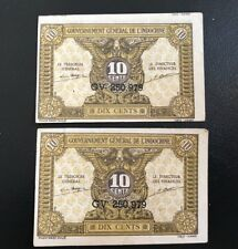 INDOCHINE FRENCH / VIETNAM MONEY DIX CENTS (MỘT HÀO) / 2 Matching Notes / RARE