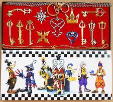 13pcs/Set Kingdom Hearts II KEY BLADE Necklace Pendant+Keyblade+Keychain Gold