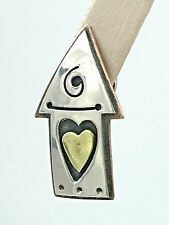 VINTAGE Far Fetched .925 Sterling Silver, Brass & Copper, Tie Tack or Lapel Pin
