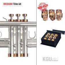 Trumpet Trim Kit KGUBrass. MEDIUM Caps. Raw Brass. TKMR109 ** Custom parts **