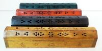 Wood Coffin Box Incense Burner Sticks Holder Storage Compartment  Lot of 4