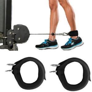 Gym D-ring Ankle Strap Belt Fitness Adjustable Elastic Black Thigh Leg Strap AA