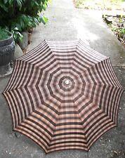 """Vintage Knirps Plaid Telescoping Umbrella Silvery Metal Handle-Tip 34"""" Diameter"""
