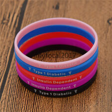Type 1 Diabetic Silicone Bracelet Medical Wristband Charms Bangle Hot Multicolor