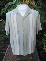 Mens PANEL shirt pit to pit 24 L AXIST silk blend 3 tone sage green short sleeve