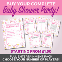 Baby Shower 6 Game Complete Party Set - Girls - A6 Game Cards - Cute Baby Rabbit