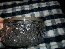 Vintage Made In England Clear Glass Waffle Pattern Silver Rim Bowl