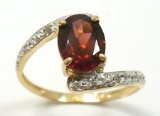 NEW 10KT YELLOW GOLD GARNET & DIAMOND RING SIZE 7     R913