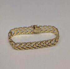 "14K Solid Yellow Gold Fancy Link Aurafin Italy Bracelet 7.5"""