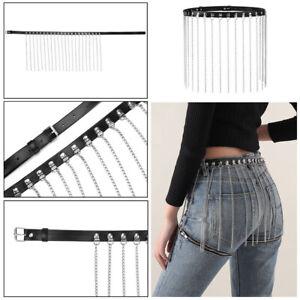 Women Punk Faux Leather Waist Strap Fringe Skirt Harness Metal Chain Tassel Belt