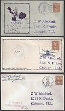 US 1940's WAR TIME MILITARY 3 COVERS ARMY & MARINE CENSORS FROM MIDWAY ISLANDS B