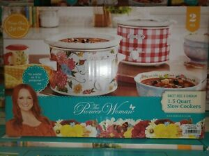 The Pioneer Woman Sweet Rose & Gingham 1.5-Quart Slow Cooker Set of 2