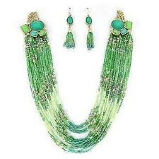 "30"" Adjustable Gold Toned and Green Sea Beaded Necklace With Matching Earrings"