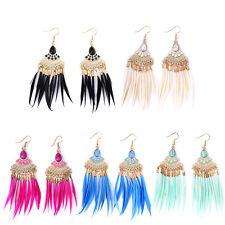 Fashion Bohemia Ear Elegant Dangle Women Jewelry Stud Feather Tassel Earrings