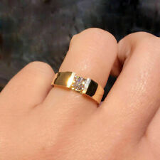 Yellow Gold Finish 1Ct Round Moissanite Solitaire Men's Engagement Ring 14K