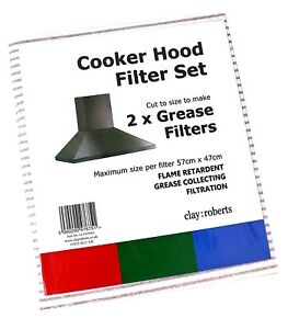 2 x Universal Grease Cooker Hood Filters, Cut to Size, Vent Filter for All Hoods
