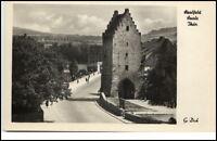 Saalfeld Thüringen DDR Postkarte 1954 Straßenpartie am Saaltor Tor Personen