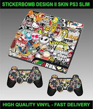 Playstation 3 Slim Consola Stickerbomb versión Ii Piel gráficos y 2 Pad Skins