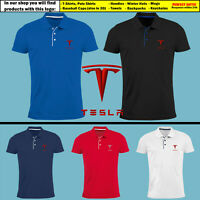 Tesla Slim Fit Polo T Shirt EMBROIDERED Electric Car Logo Tee Mens Gift Clothing